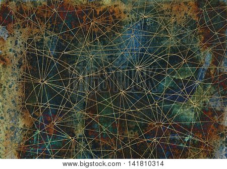 Abstract background with crossed lines on ancient texture for cards, textile, arts. Mystic or occult linear pattern with hand drawn network