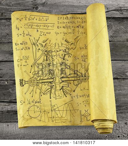 Old paper scroll with human throat, mechanical parts and formulas on wooden background, steampunk style. Scary science concept