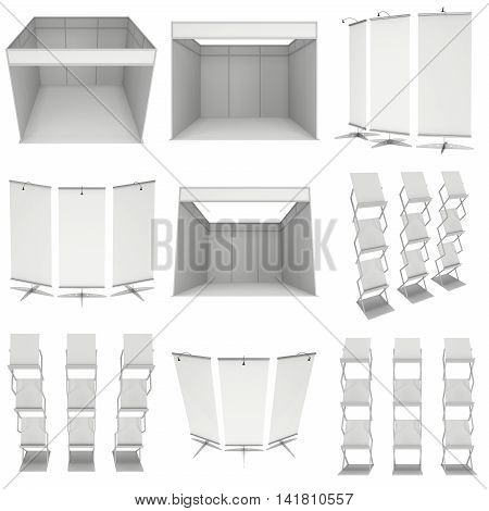 Trade show booth set. Roll-Up Pop-Up. 3d render isolated on white background. 3d render isolated on white background. Floor Stands Collection. Ad template for your expo design.