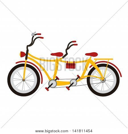 Cute Tandem bicycle on white background. Vector illustration.