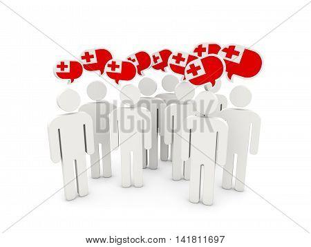 People With Flag Of Tonga