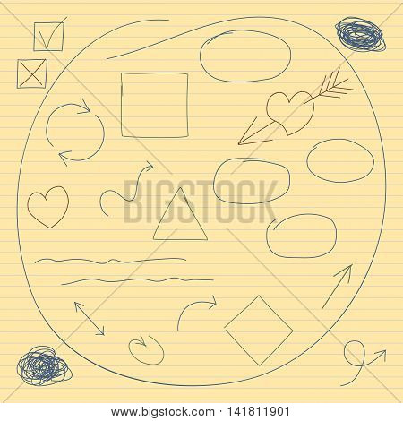 Vector collection of hand drawn scribbles, arrows, mark squares and hearts symbols. Set of 23 signs in children's drawing style on yellow backdrop. Fully editable file for your projects.