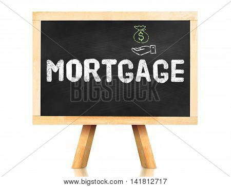 Mortgage Word On Blackboard With Easel Isolated On White Background With Clipping Path At Object,ban