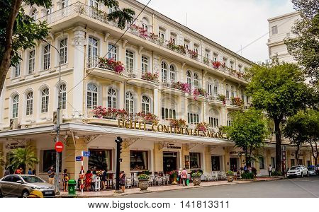 HO CHI MINH CITY, VIET NAM - MARCH 13, 2016: Hotel continental saigon It's beautiful vintage style building in Sai Gon.- Vintage Filter