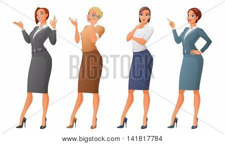 Set of cartoon business formal dressed women showing ok sign gesture talking on phone looking up and thinking finger pointing up. Vector illustration isolated on white background.