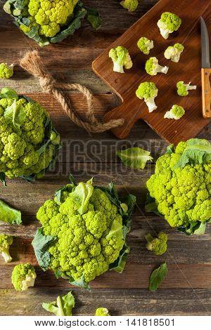 Raw Organic Green Broccoli Cauliflower
