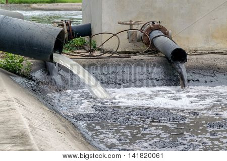 Industrial Pipe Discharging Liquid Waste.