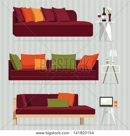 Interior of a sofa. Modern flat design illustration