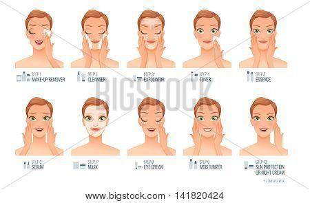 Ten basic women skincare steps: cleaning exfoliating toning treatment moisturizing. Cartoon vector illustration isolated on white background.