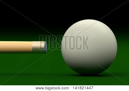 Cue Aiming Cue Ball Or White Ball, 3D Rendering