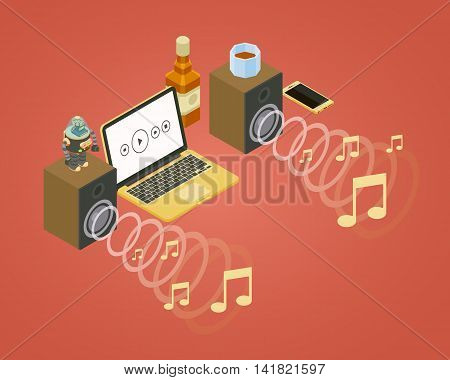 Sound wave from the two speakers, note icons, and laptop. 3D isometric vector concept illustration