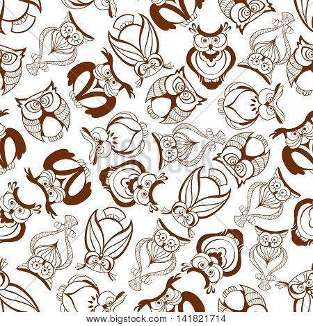 Brown horned owls seamless pattern of sketched bird of prey with folded wings and huge eyes randomly scattered over white background. Education theme or forest wildlife design