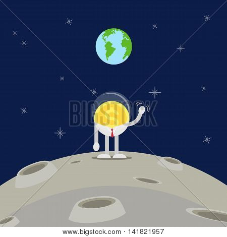 coin business man in white suit and red tie on the moon. Waving his hand to the earth.