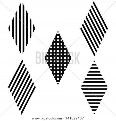 Striped rhombus diagonal, horizontal, vertical and cross stripes, vector for print or website design