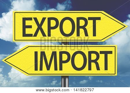 Export x Import yellow sign