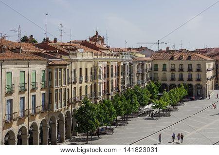 Avila, Spain - August 23, 2012: View of buildings on Plaza Santa Teresa de Jesus from medieval town walls. Castilla y Leon Spain Europe