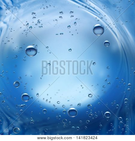 Deep blue water background with bubbles. Underwater sea nature.