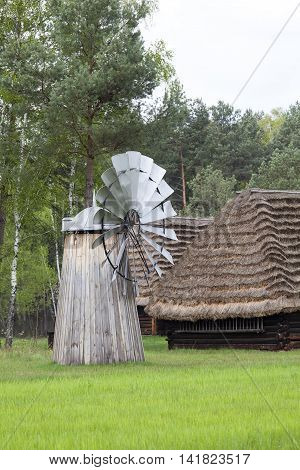 Old Dutch windmill  in open-air museum, Ethnographic Park, Kolbuszowa, Poland