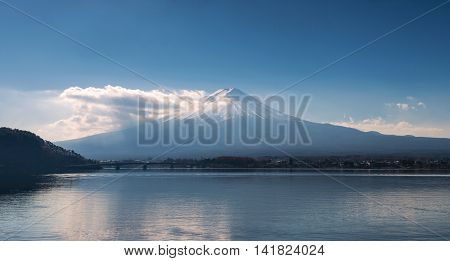 Mount Fuji In The Early Morning With Reflection On The Lake Kawaguchiko