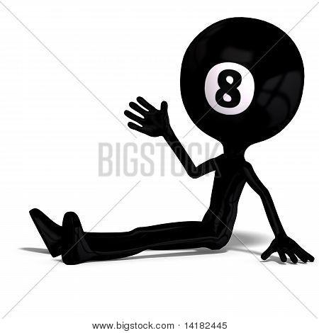 lustige Cartoon-Kerl, der aussieht wie eine Billard-Kugel