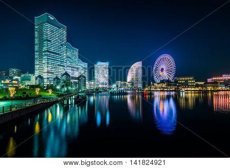 Night View Of Yokohama Cityscape At Minato Mirai Waterfront District.