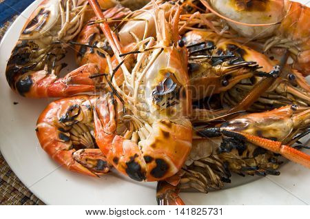 Seafood barbecue of grilled Shrimps ready to eat