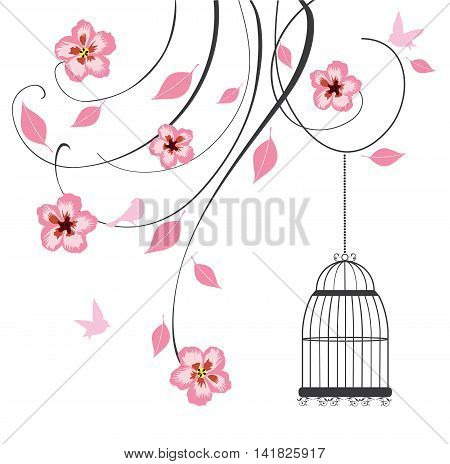 vector illustration of floral swirls background with vintage bird cage
