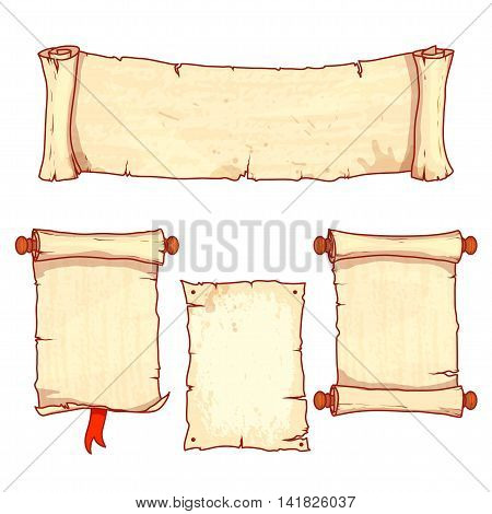Set of four ancient scrolls. Vector illustration isolated on a white background.