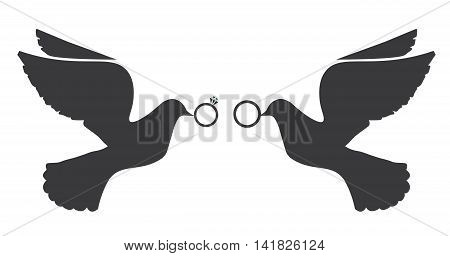 vector illustration of doves with wedding rings