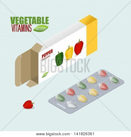 Pepper Vitamins. Vegetarian Pills. Tablets In Pack. Natural Products For Health In Form Of Bell Pepp