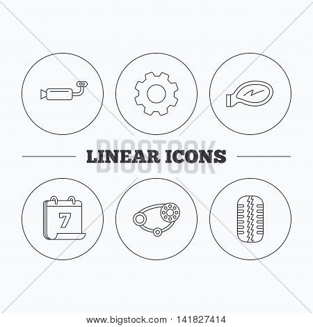 Tire tread, car mirror and timing belt icons. Muffler linear sign. Flat cogwheel and calendar symbols. Linear icons in circle buttons. Vector