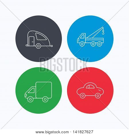 Car, delivery truck and evacuator icons. Travel van linear signs. Linear icons on colored buttons. Flat web symbols. Vector