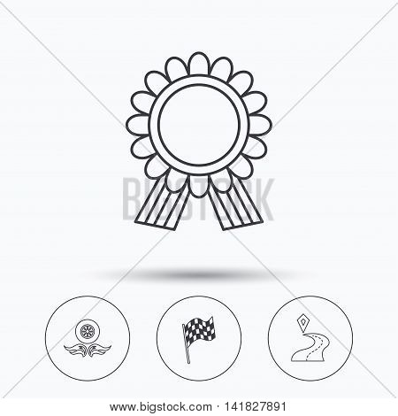 Winner award medal, destination and flag icons. Race flag, wheel on fire linear signs. Linear icons in circle buttons. Flat web symbols. Vector