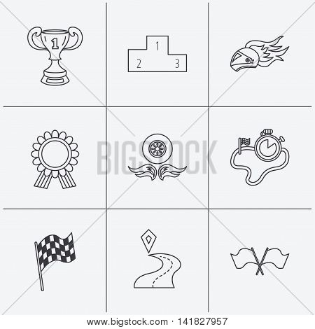 Winner cup and podium, award medal icons. Race flag, motorcycle helmet and timer linear signs. Destination pointer flat line icons. Linear icons on white background. Vector