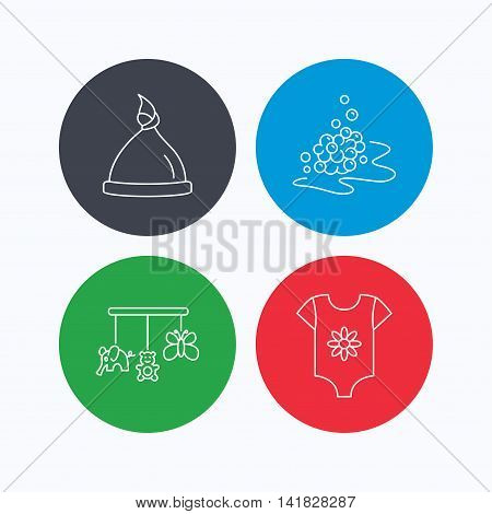 Baby clothes, bath bubbles and hat icons. Baby toys linear signs. Linear icons on colored buttons. Flat web symbols. Vector