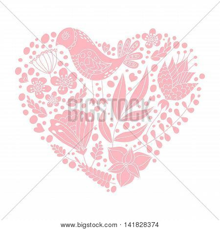 Doodle bird and floral elements in heart shape. Vector illustration. Happy Valentine's day greeting card.