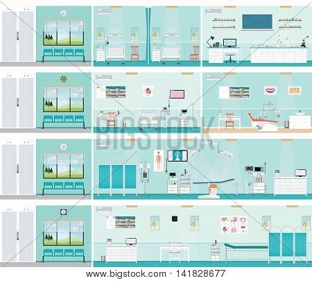Medical hospital surgery operation room post-operation ward laboratory medical check up interior roomECG Test or cardiology center room interior dental care interior building health care conceptual vector illustration.