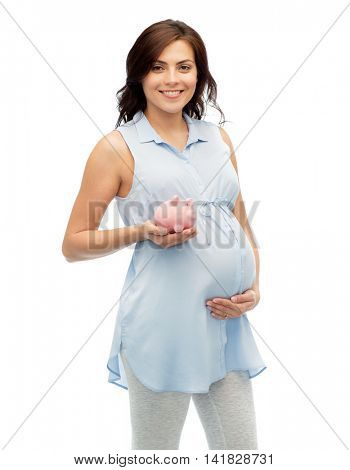 pregnancy, motherhood, finance, saving and people concept - happy pregnant woman with piggybank over white background