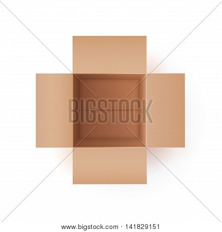Color Vector Photorealistic Illustration Of Cardboard Box. Top View