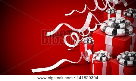 Giftboxes wrapped with red ribbon isolated on white background. 3D illustration.