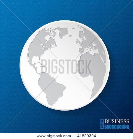 Hexagon pattern business background design with white globe