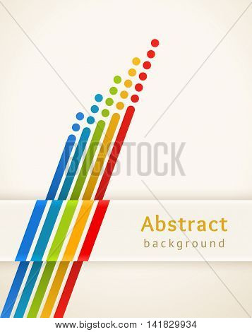 Colored stripes with circles. Retro vector background. Design template. Abstract lines directed upwards. Concept of leadership competition success and etc