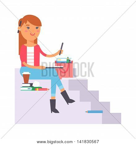 Young artist creative girl street artist during pain work. Portrait drawing street artist creative people vector. Colorful adult painter artist street designer creative people with paintbrush.
