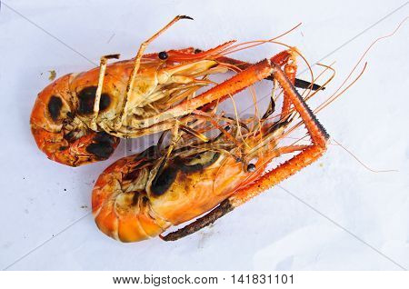 grilled lobsters in Thailand on white background