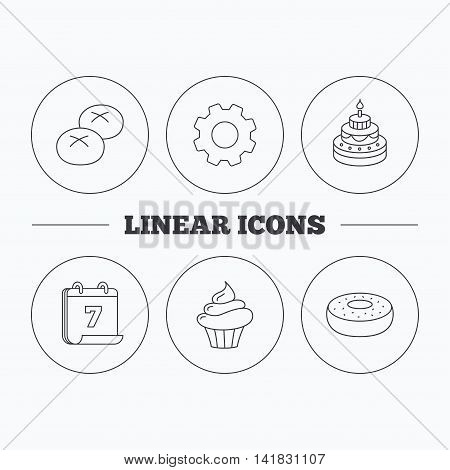 Cupcake, cake and bread rolls icons. Sweet donut linear sign. Flat cogwheel and calendar symbols. Linear icons in circle buttons. Vector