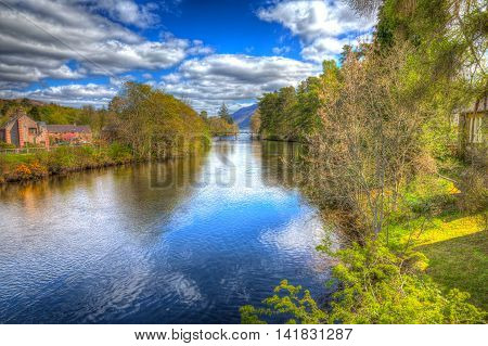 Fort Augustus Scotland UK River Oich in Scottish Highlands popular tourist village next to Loch Ness in colourful HDR