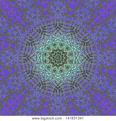 Abstract geometric seamless background, laces pattern. Ornate circle ornament in mint green, aquamarine and purple shades on dark brown, delicate and dreamy.