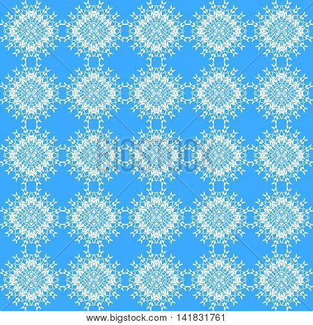 Abstract geometric seamless vintage background. Delicate regular laces pattern white on light blue, diamond pattern, ornate and dreamy.
