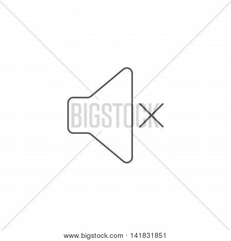 Vector illustration of mute icon on white background. Simple black symbol. Eps10 format vector.