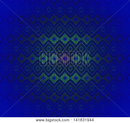 Abstract geometric seamless background. Regular diamond pattern in dark blue with green and olive green elements, centered and blurred.